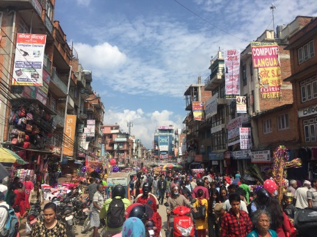 Crowded market on the way to Patan